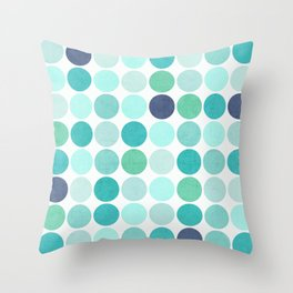 the blue dots Throw Pillow