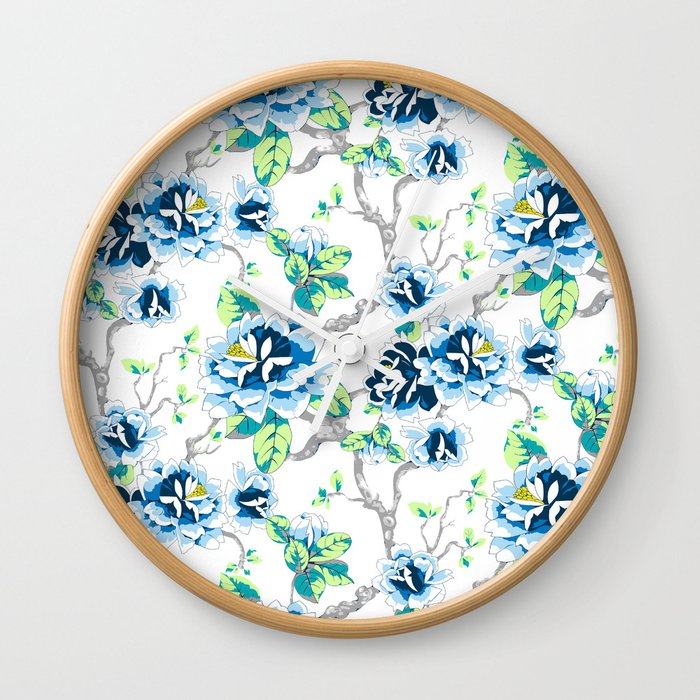 Chinoiserie Ming Style Blue Fl On White Pattern Spring Flowers Shabby Chic Wall Clock