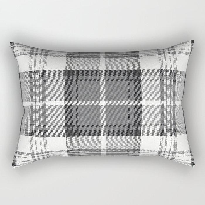 Black & White Tartan Rectangular Pillow