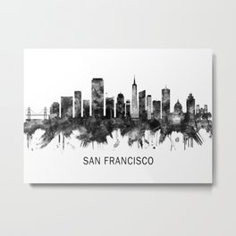 San Francisco California Skyline BW Metal Print