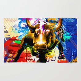 Wall Street Bull Painted Rug