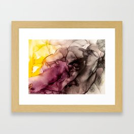 Abstract Alcohol Ink Art - Sun above the mountains Framed Art Print
