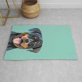Rottweiler pet portrait dog breed gifts for pure breed dog lovers Rug