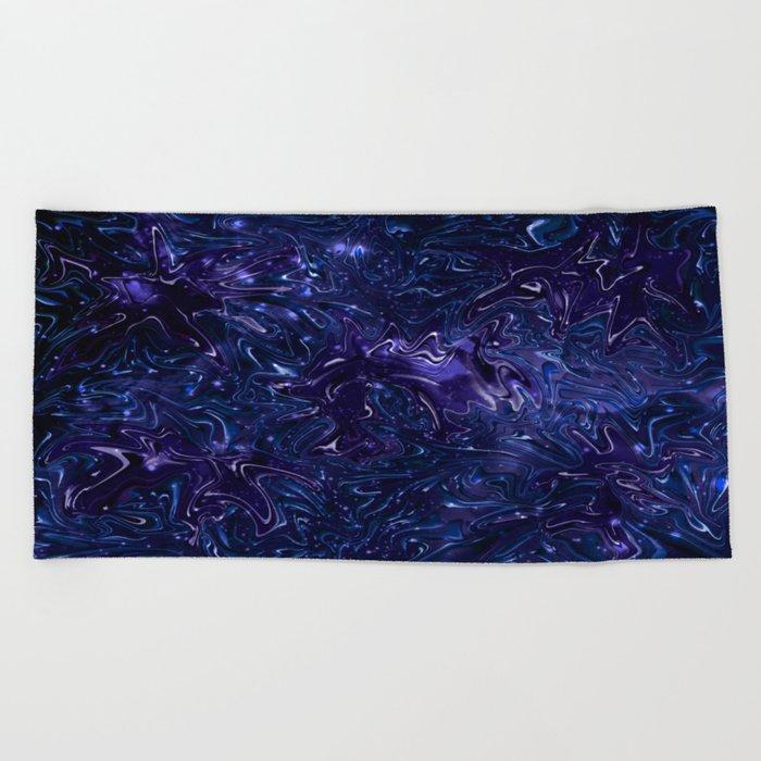 The Wolves Hidden in the Sapphire Blue Galaxy Beach Towel