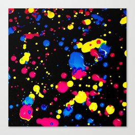 The 80s Retro Dream - Blue Pink and Yellow Paint on Canvas Canvas Print