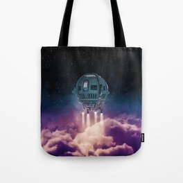 Out of the atmosphere / 3D render of spaceship rising above clouds Tote Bag