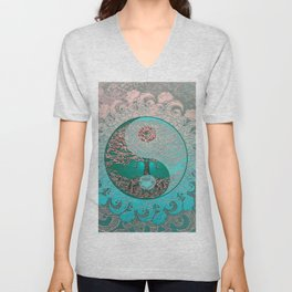 Pretty Chic Teal Tree of Life with Yin Yang and Heart Unisex V-Neck