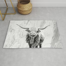Highland Cow on Marble Black and White Rug