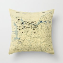 June 6 1944 D-Day World War II Twelfth Army Group Situation Map Throw Pillow