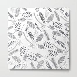 Modern gray hand painted leaves berries pattern Metal Print