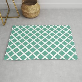 Diamonds Geometric Pattern Teal and White Rug