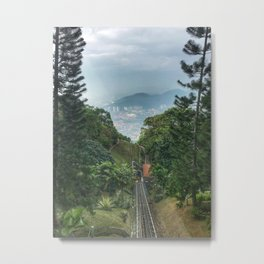 Downhill shot from a lifting up Train. Metal Print