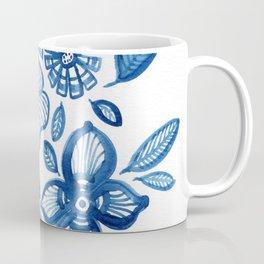 Blue Folk Flowers Coffee Mug