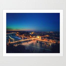 Budapest at Night Long exposure Art Print