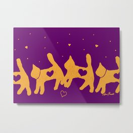 Yellow Cats with Hearts block print design on purple Metal Print