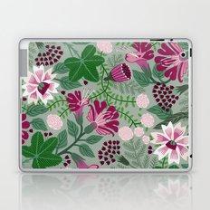 Magenta flowers on grey Laptop & iPad Skin
