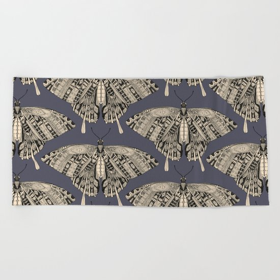 swallowtail butterfly dusk black Beach Towel
