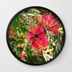 Crimson Bottle Brush Wall Clock