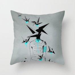 Origami's dream - A collaboration between Christelle Guilhen and Gwenola de Muralt - Throw Pillow