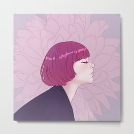 Portrait of girl on flower background Metal Print