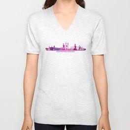 Cracow skyline city purple Unisex V-Neck