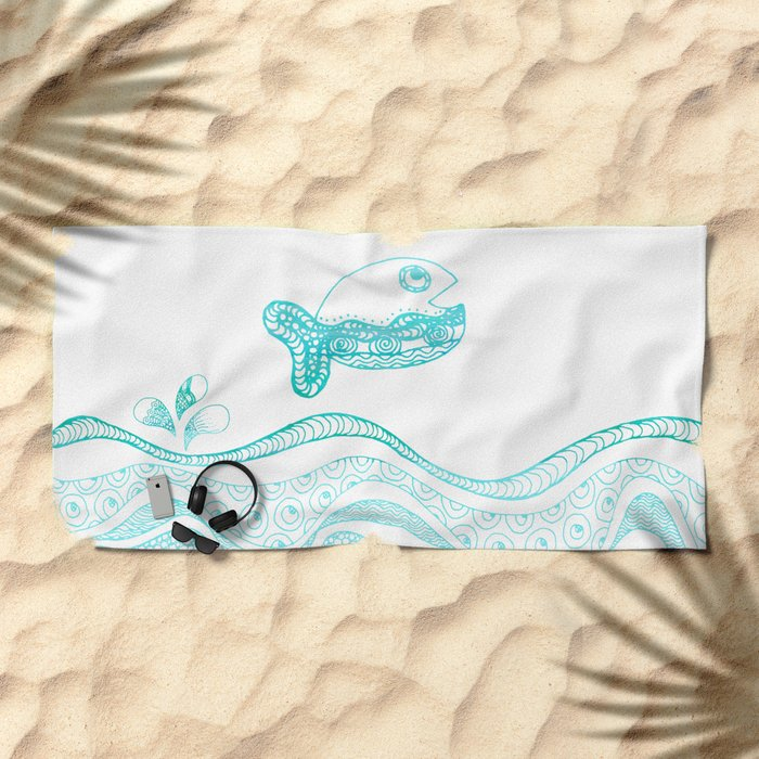 Doodle fish jumping out of the water-Maritime on #Society6 Beach Towel
