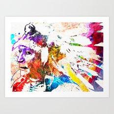 Native American Grunge Watercolor Art Print