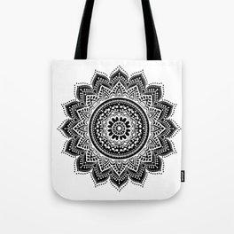 black white mandala Tote Bag