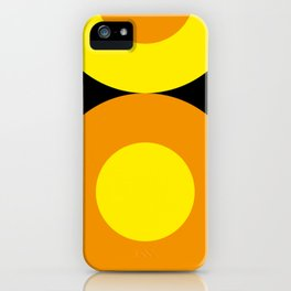 Two suns, one yellow with orange rays,the other orange with yellow rays,both floating in a black sky iPhone Case
