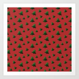 Sparkly Christmas tree green sparkles pattern on Red Art Print