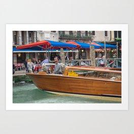 Macho Cigarette Smoking Boatman in Venice Art Print
