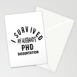 Womens I Survived My Husband's PHD Dissertation Graduation Gift V-Neck T-Shirt Stationery Cards