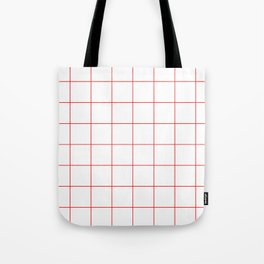 Graph Paper (Red & White Pattern) Tote Bag