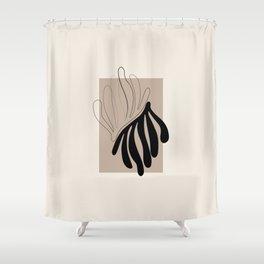 Florid - Henri Matisse Style Abstract Minimal Art Illustration - Black and Beige Floral Design Shower Curtain