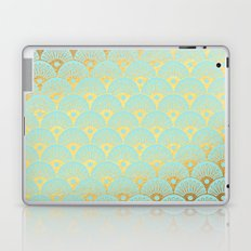 Art Deco Scales Pattern on aqua turquoise with Gold foil effect Laptop & iPad Skin