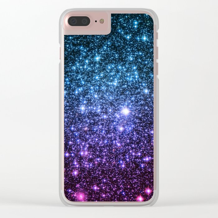 Galaxy Stars : Teal Violet Pink Ombre Clear iPhone Case