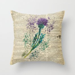 Vintage Jaggy Thistle  Throw Pillow