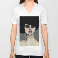 three of the possessed V-neck T-shirts featuring Possessed by Lisa Kelsall