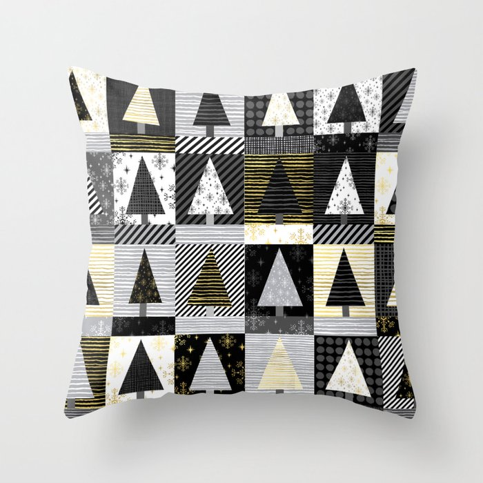 Christmas tree forest quilt pattern cute black white gold holiday gifts Throw Pillow