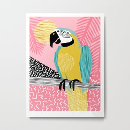Holy Moly - memphis throwback retro neon bird macaw tropical island pop art bird watching 1980s Metal Print