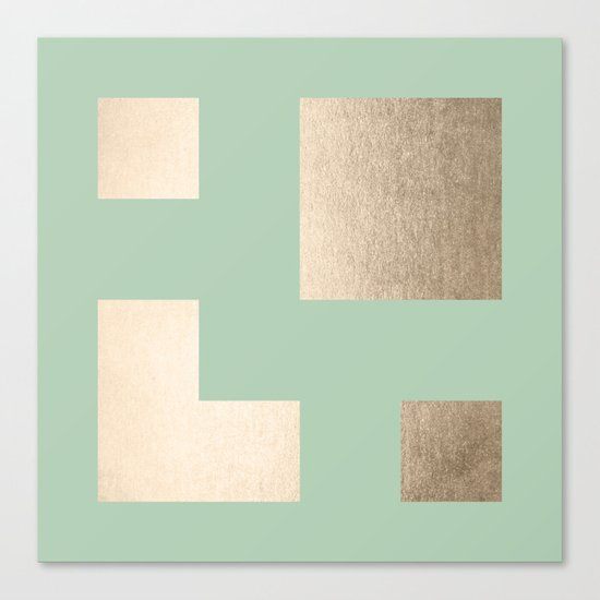 Simply Geometric White Gold Sands on Pastel Cactus Green Canvas Print