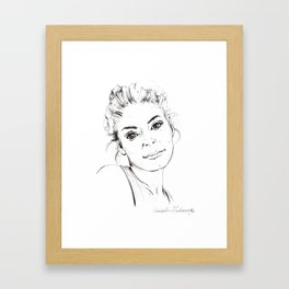 Portrait collection ink pen drawing woman black and white elegant  Framed Art Print
