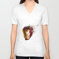 ironman V-neck T-shirts featuring Ironman by EnragedPeasant