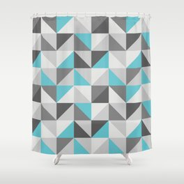 Neon cyan triangles pattern Shower Curtain