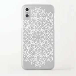 Mandala Vintage White on Ocean Fog Gray Clear iPhone Case