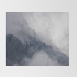 Misty Pine Mountain Forest Landscape Steep Cliffs Cloudy Modern Minimal Photo Throw Blanket