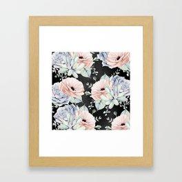 Night Succulents Framed Art Print