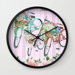 Floral Bicycle #gift #society6 #digitalprint Wall Clock