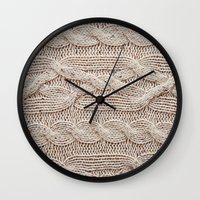 sweater Wall Clocks featuring sweater by shannonblue