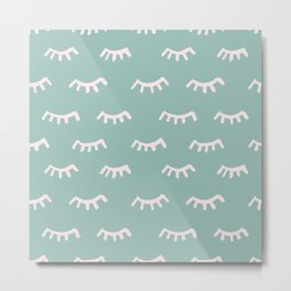 Mint Sleeping Eyes Of Wisdom - Pattern - Mix & Match With Simplicity Of Life Metal Print